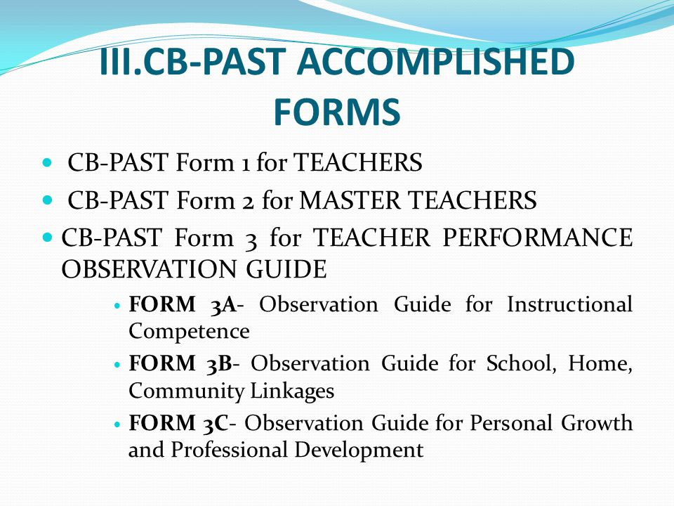 III.CB-PAST ACCOMPLISHED FORMS