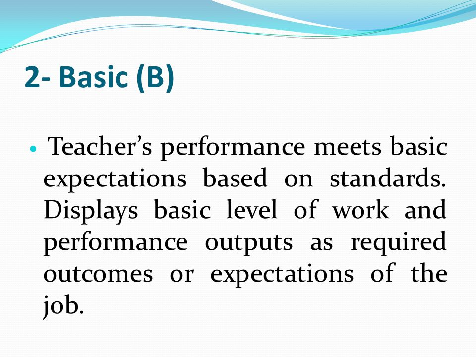teacher s level of performance in the Guide to implementation: observations of teachers' classroom performance 1  the performance  different levels of performance since performance.