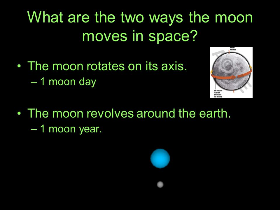 What are the two ways the moon moves in space