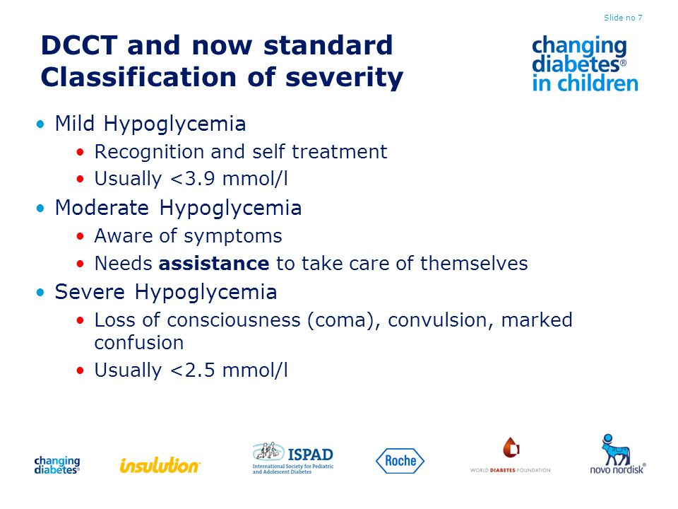 DCCT and now standard Classification of severity