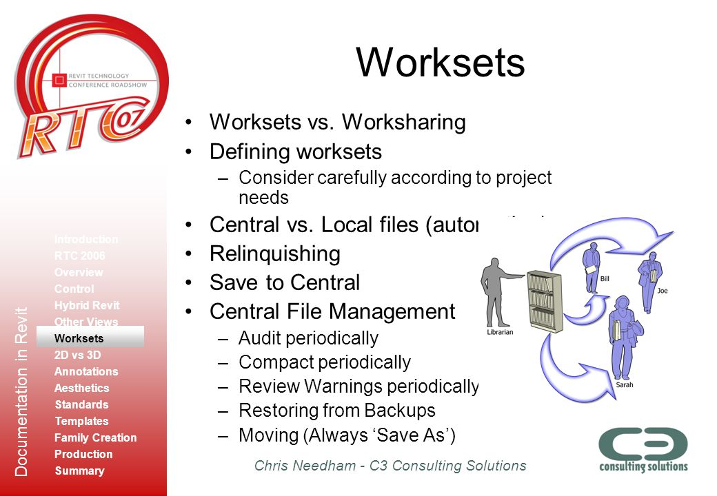 Worksets Worksets vs. Worksharing Defining worksets
