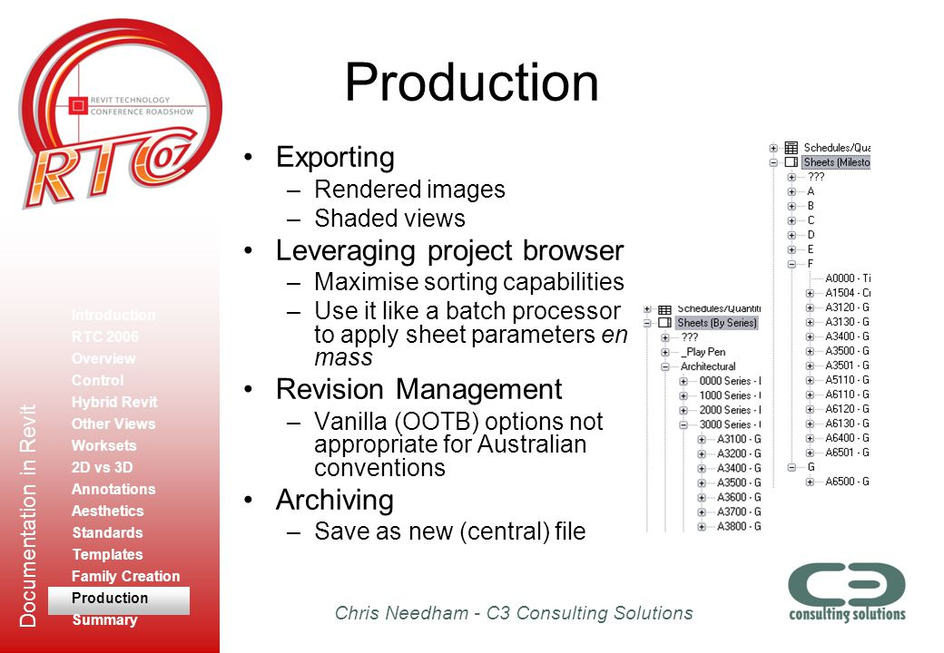 Production Exporting Leveraging project browser Revision Management