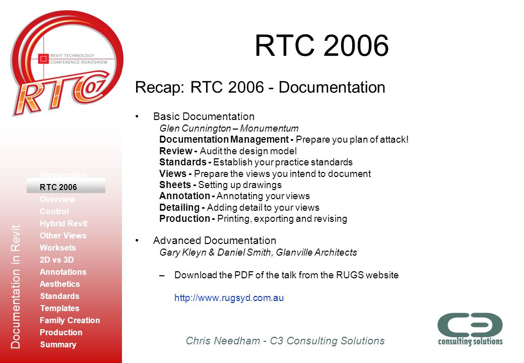 RTC 2006 Recap: RTC 2006 - Documentation Basic Documentation