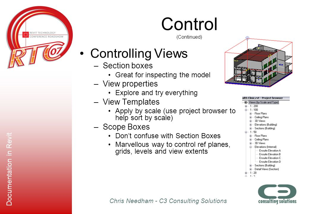 Control (Continued) Controlling Views Section boxes View properties
