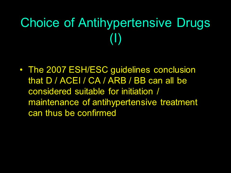 Choice of Antihypertensive Drugs (I)