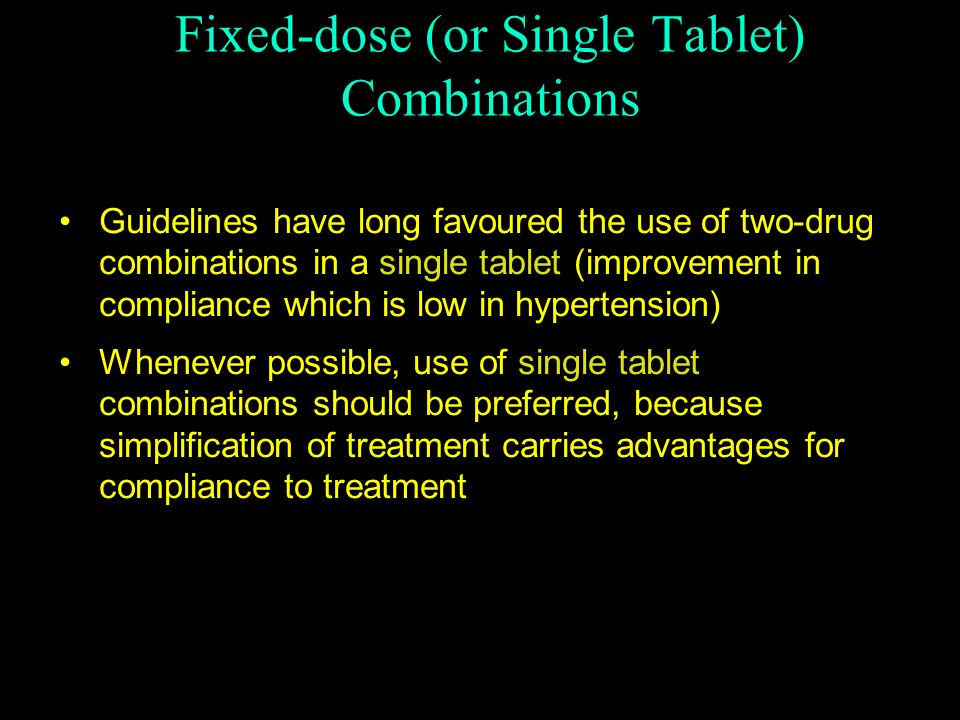 Fixed-dose (or Single Tablet) Combinations