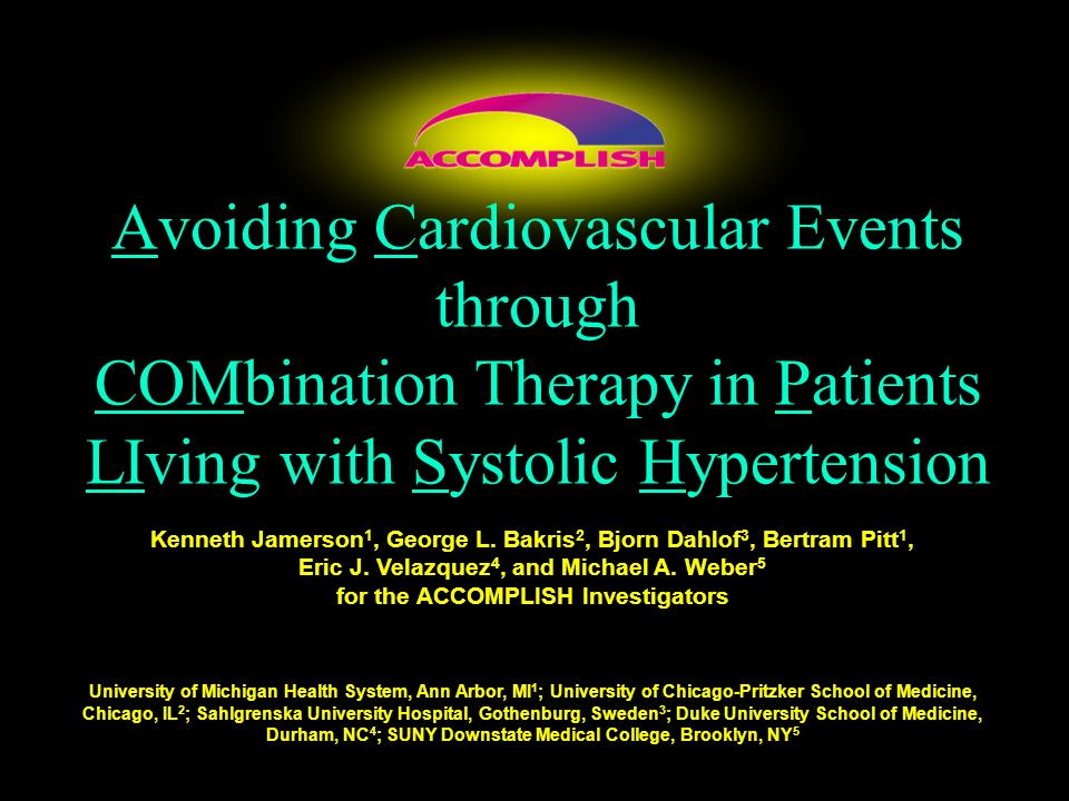 Avoiding Cardiovascular Events through COMbination Therapy in Patients LIving with Systolic Hypertension