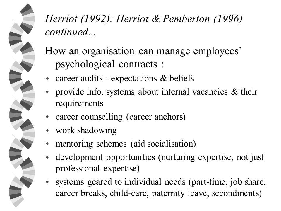 Herriot (1992); Herriot & Pemberton (1996) continued...