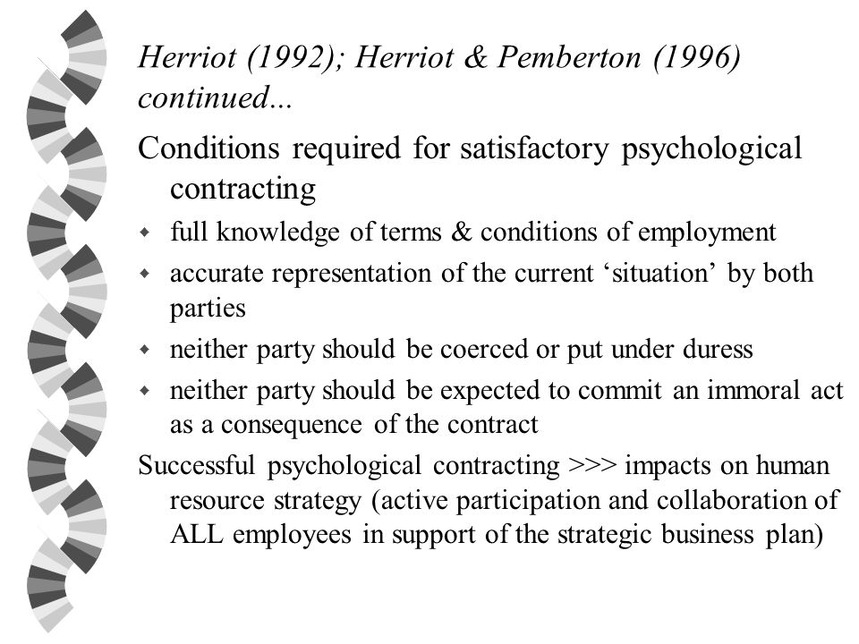 Herriot (1992); Herriot & Pemberton (1996) continued...
