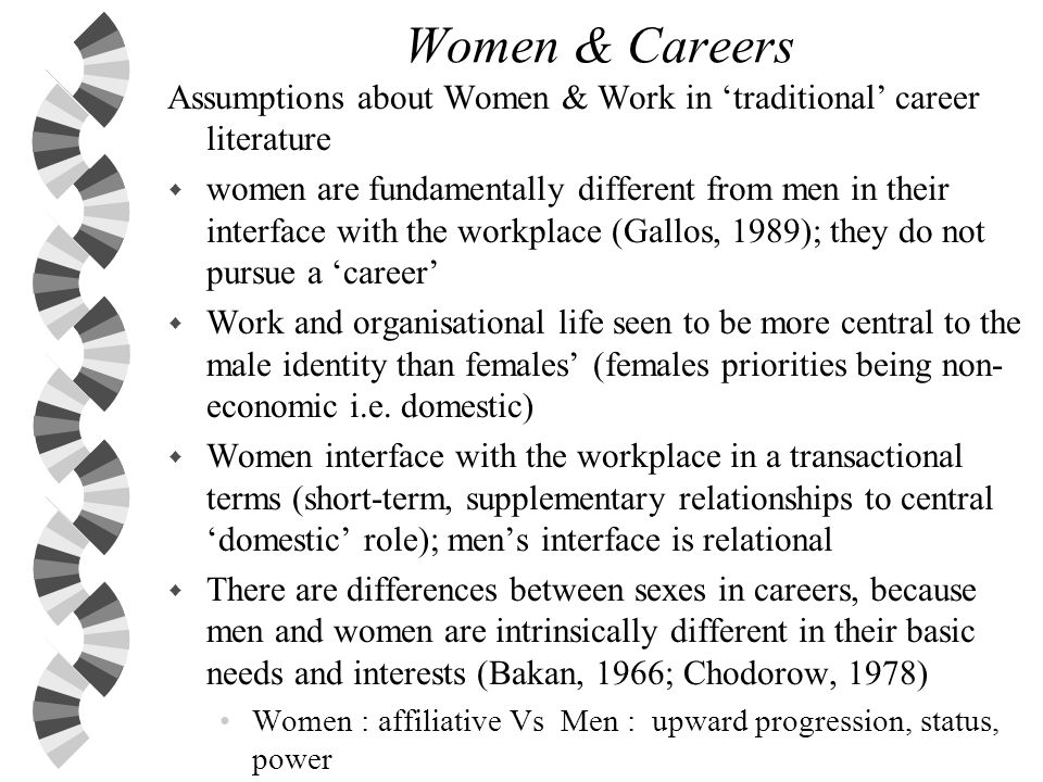 Women & Careers Assumptions about Women & Work in 'traditional' career literature.