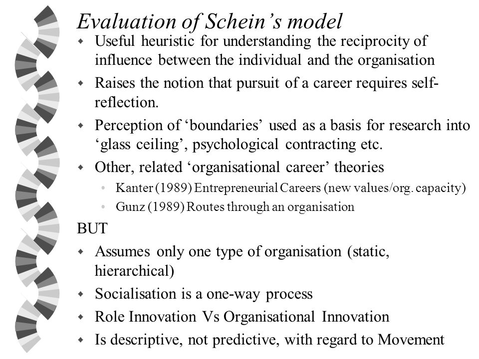 Evaluation of Schein's model