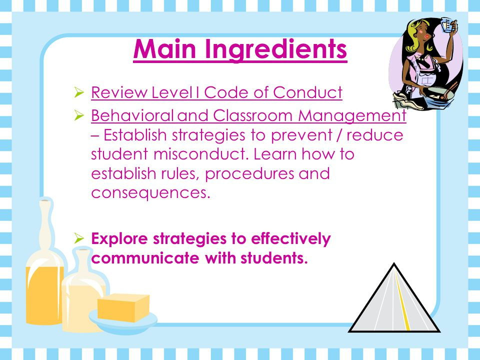 Main Ingredients Review Level I Code of Conduct