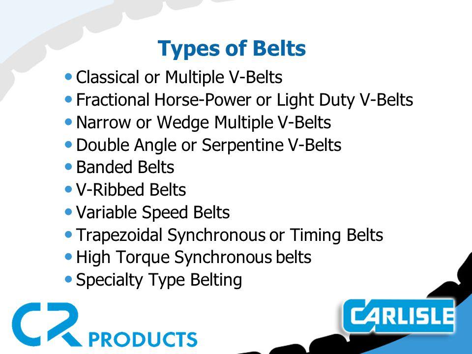 Types of Belts Classical or Multiple V-Belts