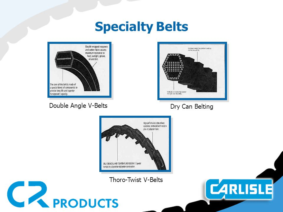 Specialty Belts Double Angle V-Belts Dry Can Belting