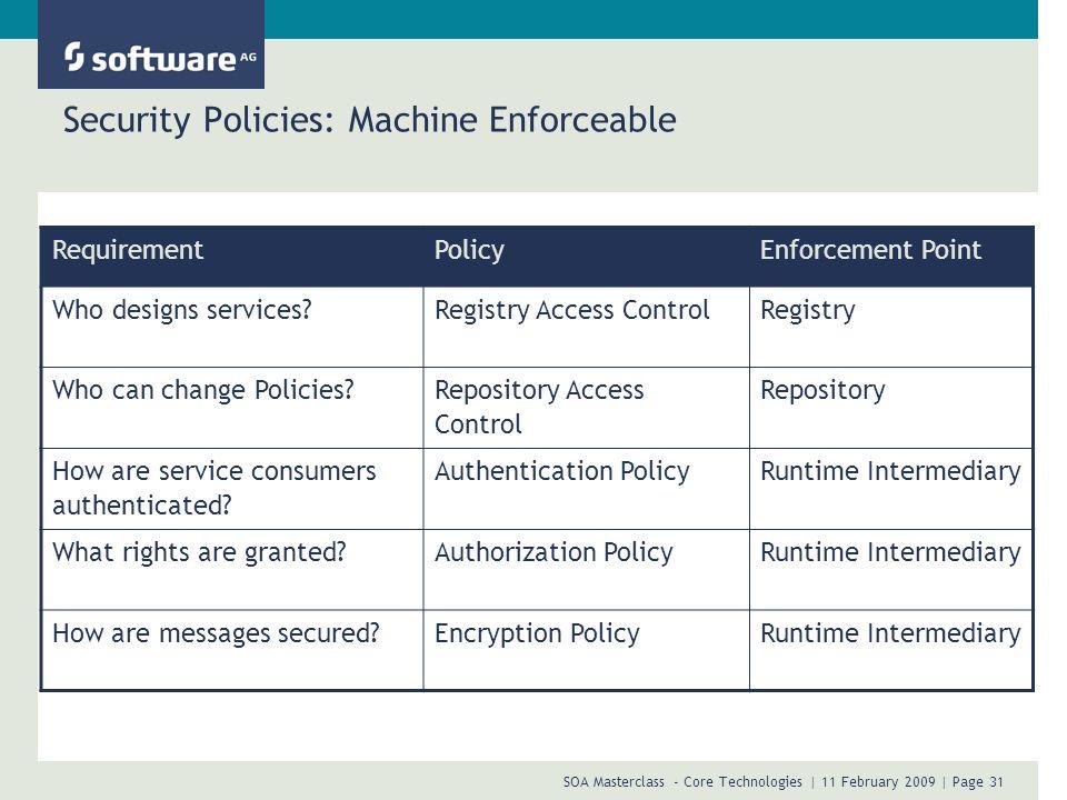Security Policies: Machine Enforceable