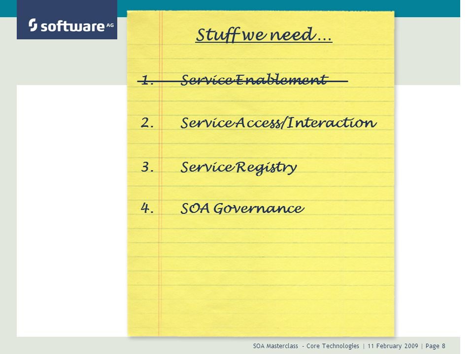 Stuff we need … 1. Service Enablement 2. Service Access/Interaction