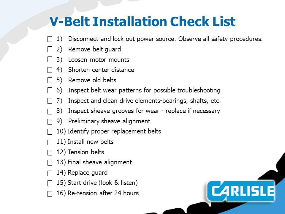 V-Belt Installation Check List