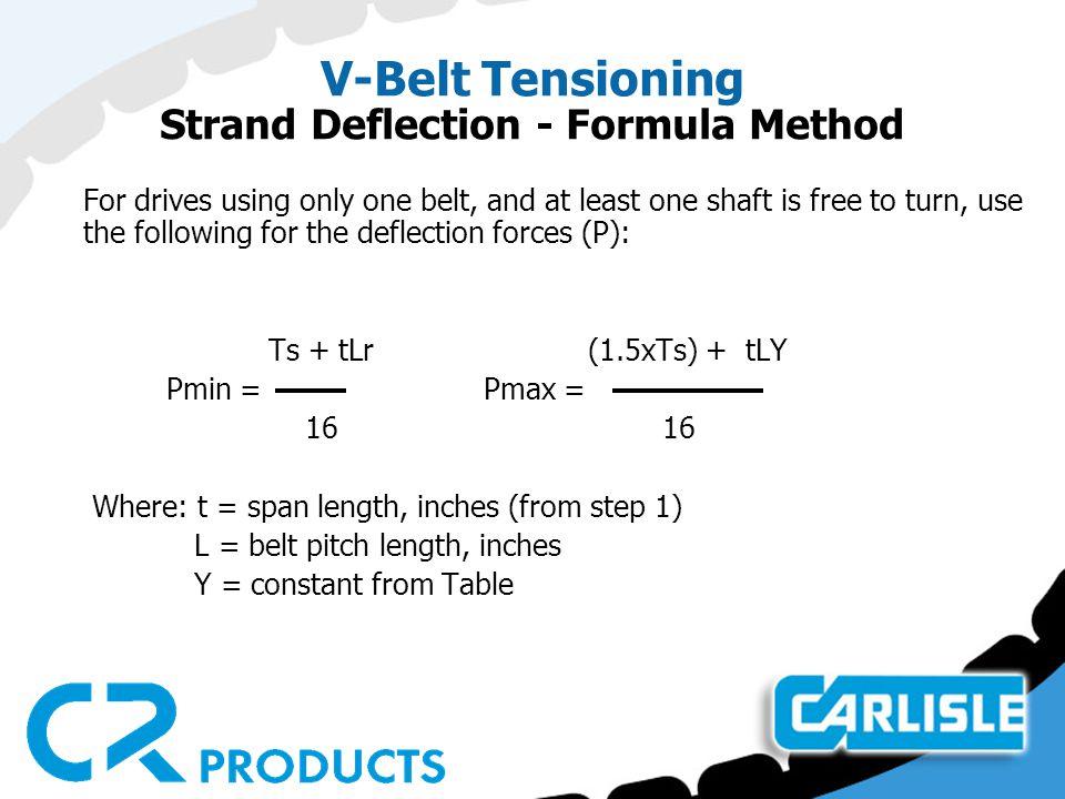 V-Belt Tensioning Strand Deflection - Formula Method