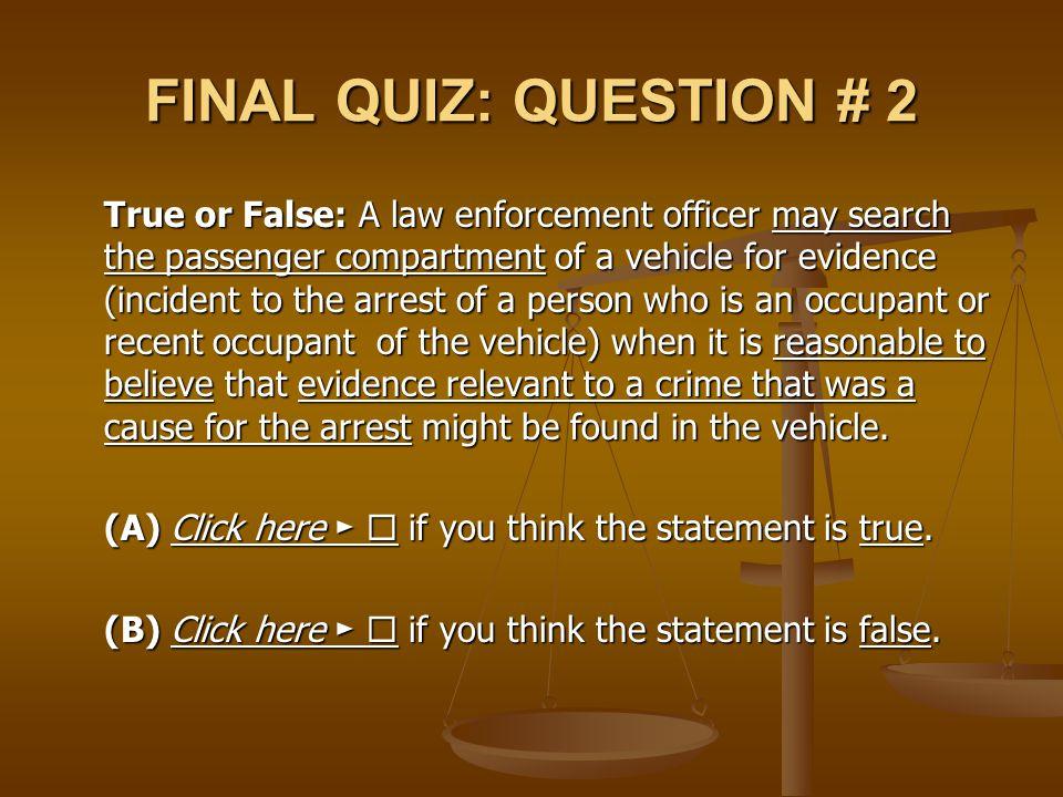 FINAL QUIZ: QUESTION # 2