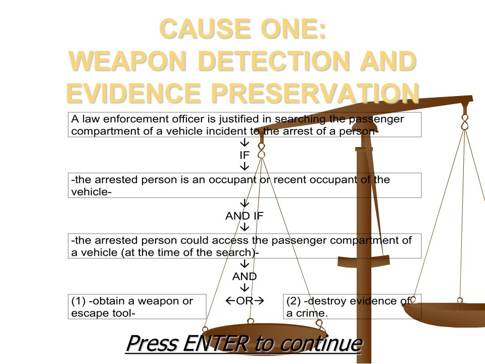 CAUSE ONE: WEAPON DETECTION AND EVIDENCE PRESERVATION