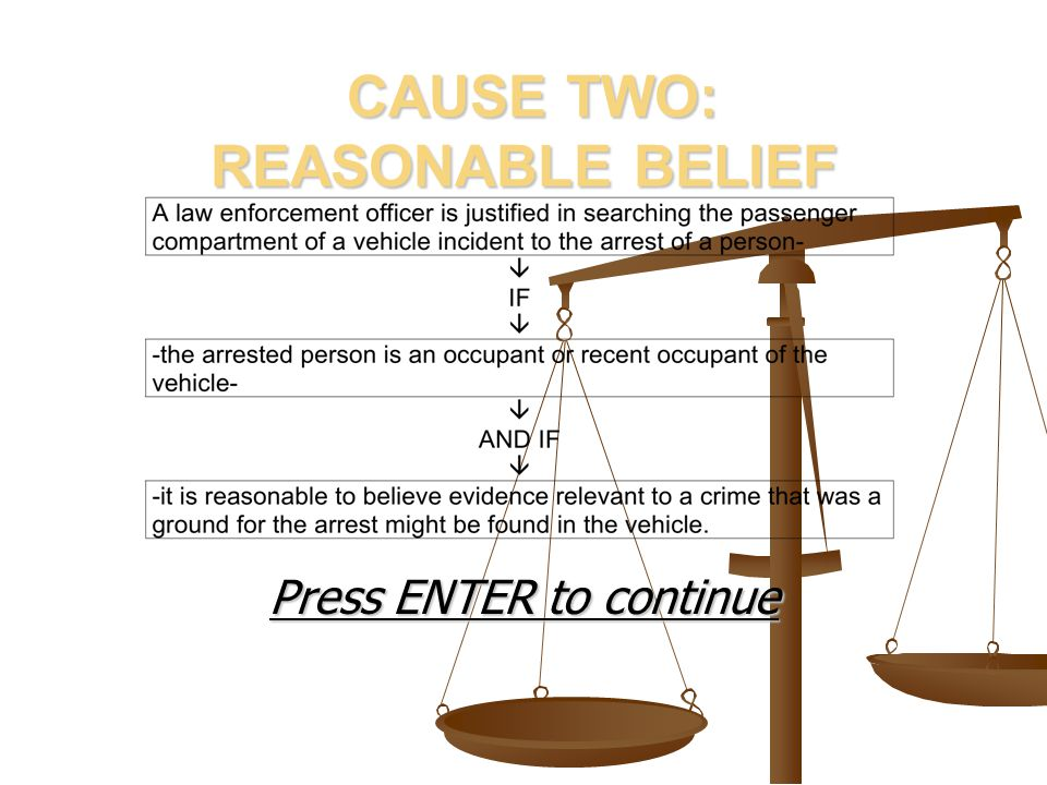 CAUSE TWO: REASONABLE BELIEF