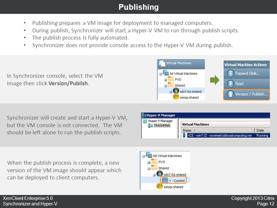 Publishing Publishing prepares a VM image for deployment to managed computers.
