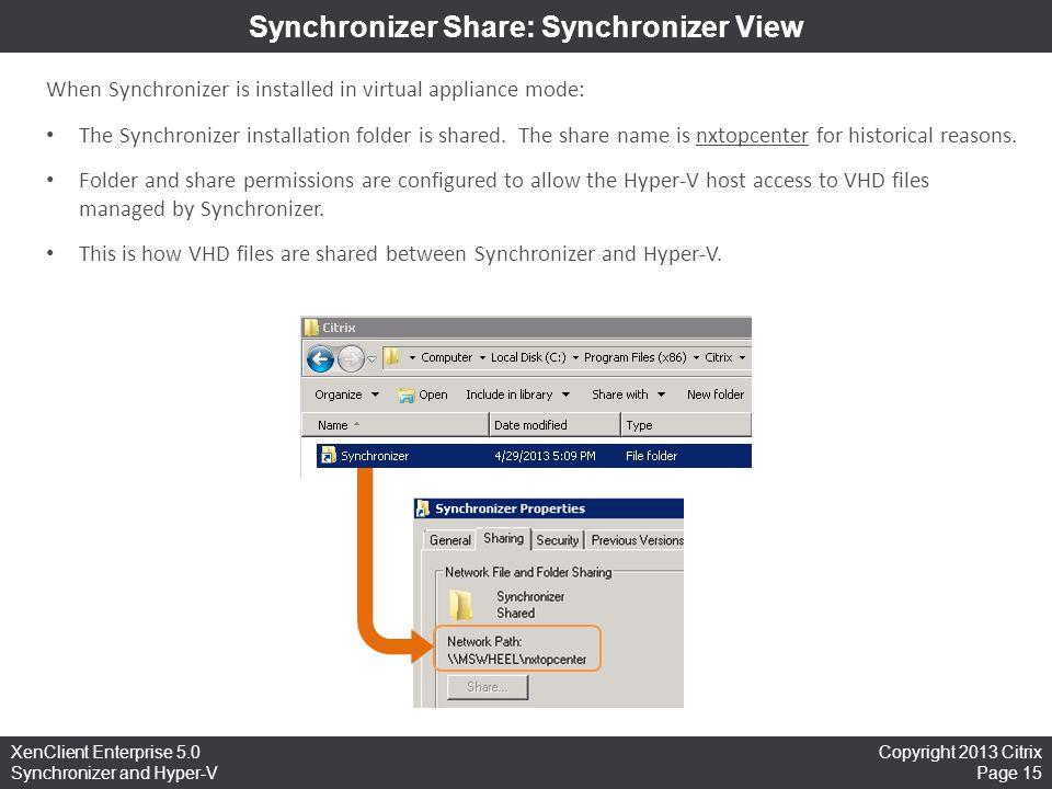 Synchronizer Share: Synchronizer View