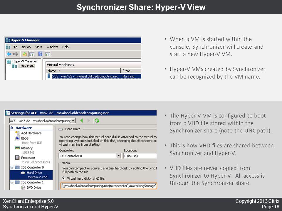 Synchronizer Share: Hyper-V View