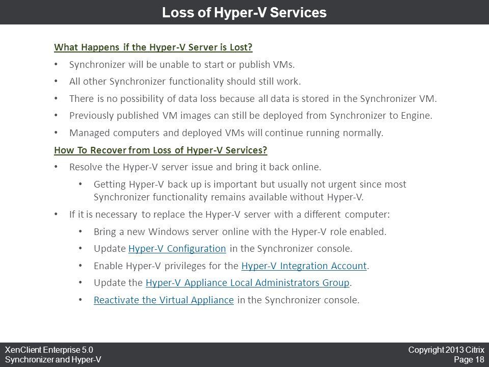 Loss of Hyper-V Services