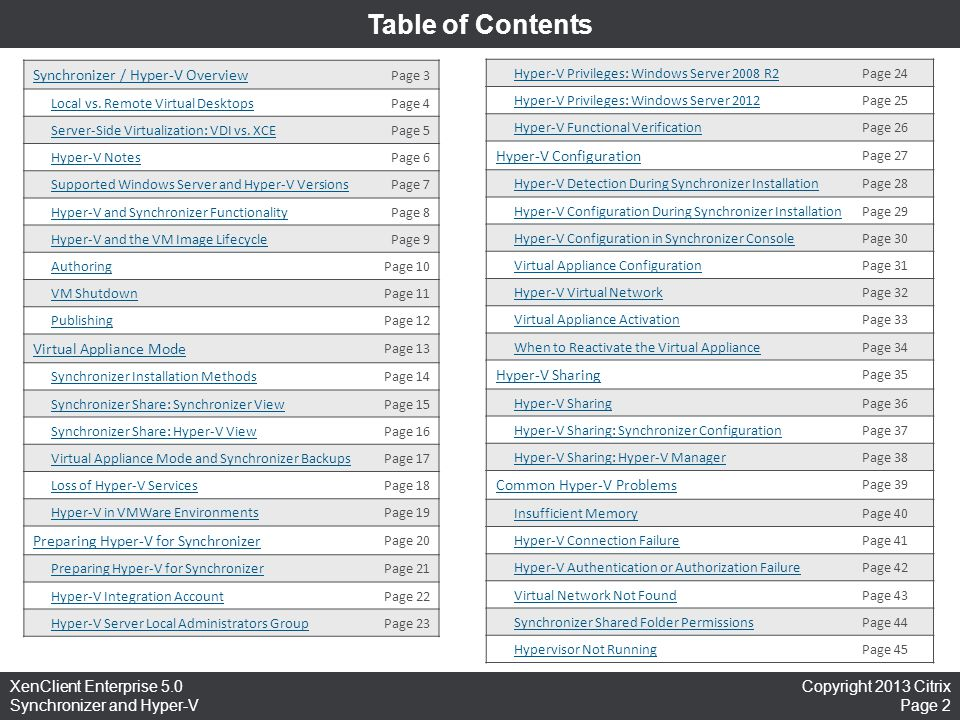 Table of Contents Synchronizer / Hyper-V Overview