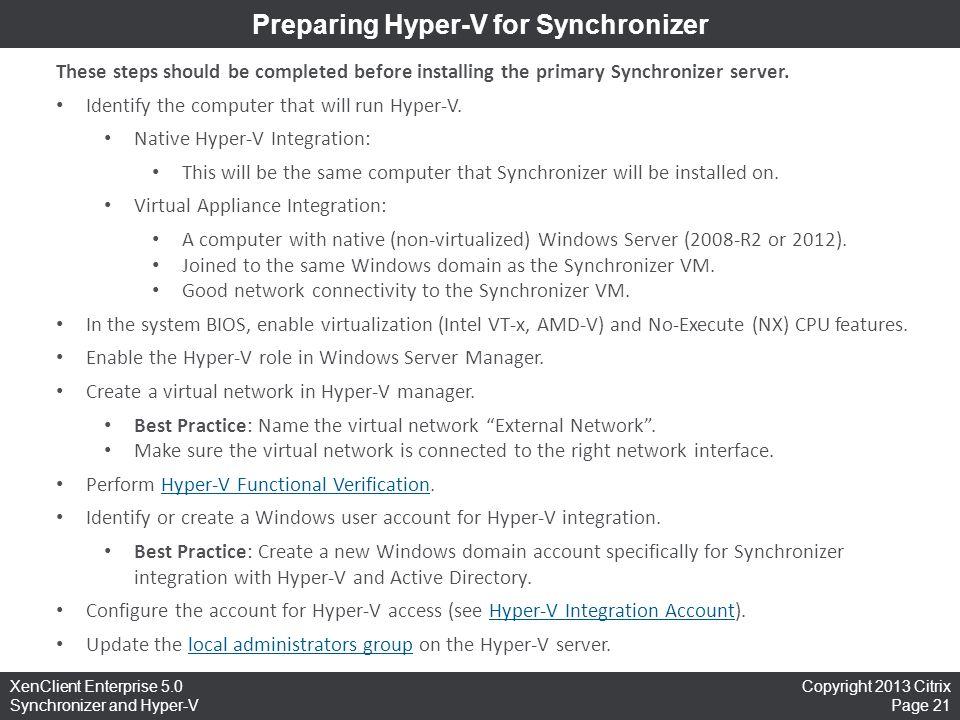 Preparing Hyper-V for Synchronizer