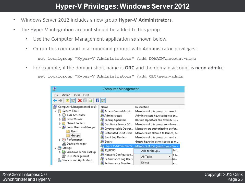 Hyper-V Privileges: Windows Server 2012