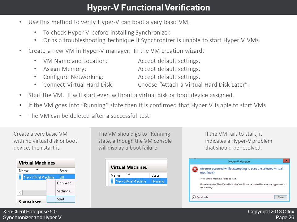 Hyper-V Functional Verification