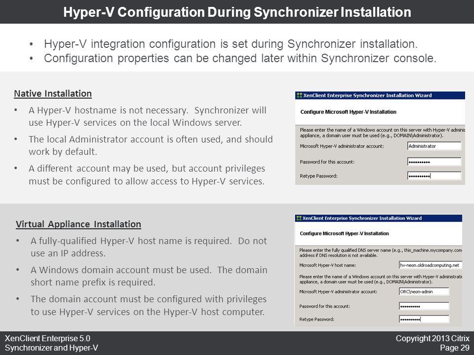 Hyper-V Configuration During Synchronizer Installation