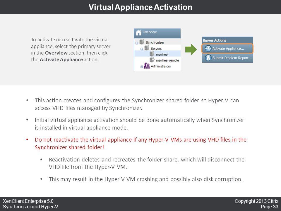 Virtual Appliance Activation