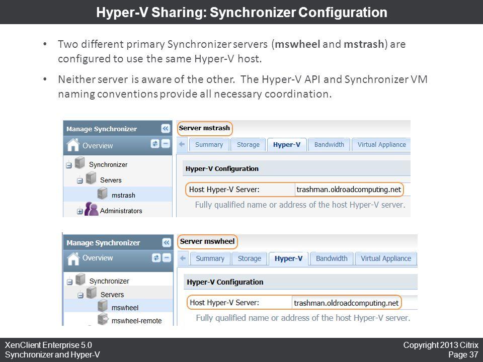Hyper-V Sharing: Synchronizer Configuration
