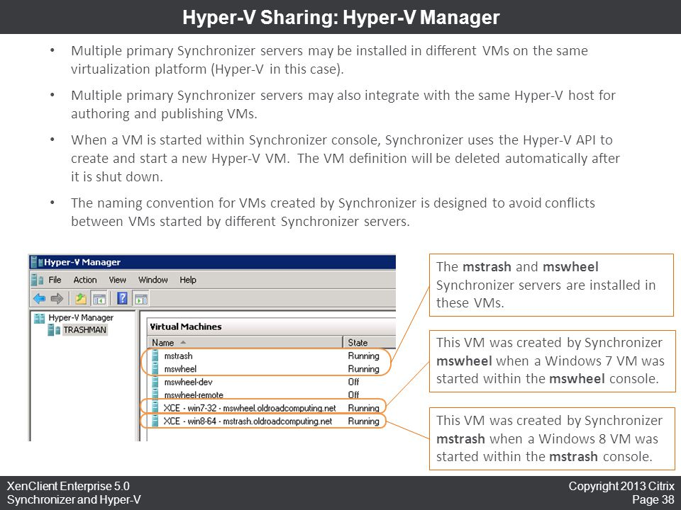 Hyper-V Sharing: Hyper-V Manager