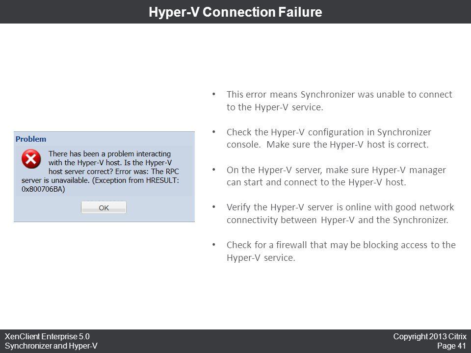 Hyper-V Connection Failure