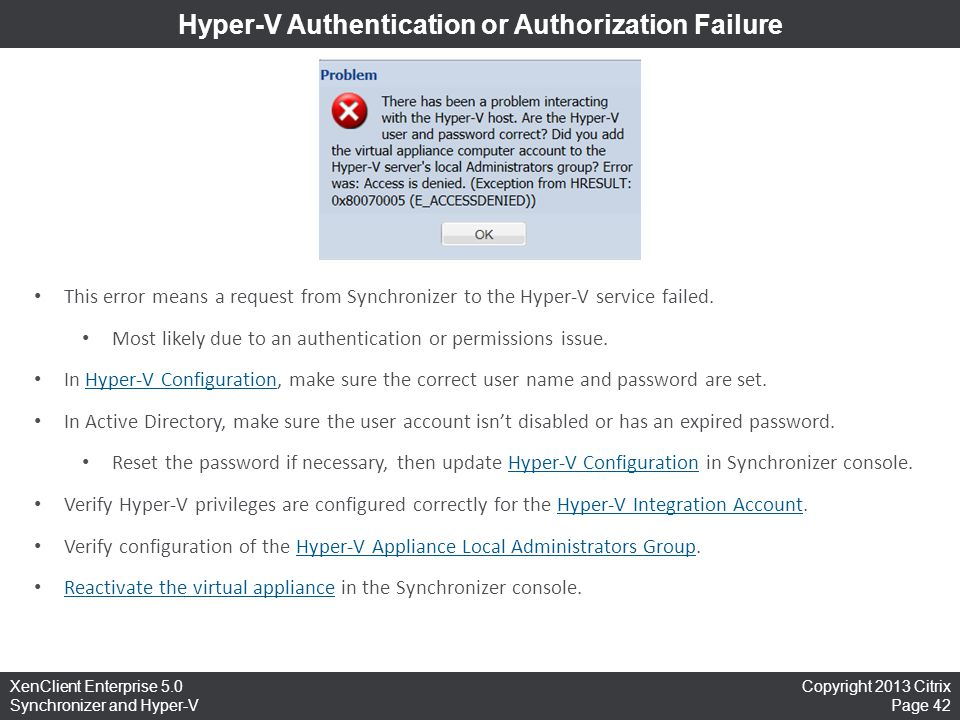 Hyper-V Authentication or Authorization Failure