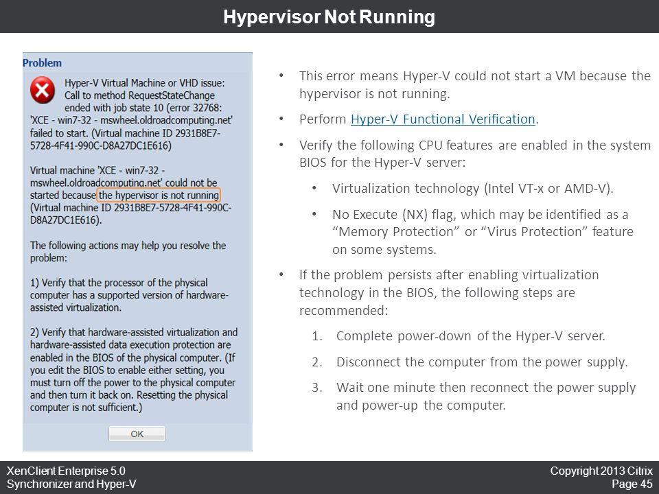 Hypervisor Not Running