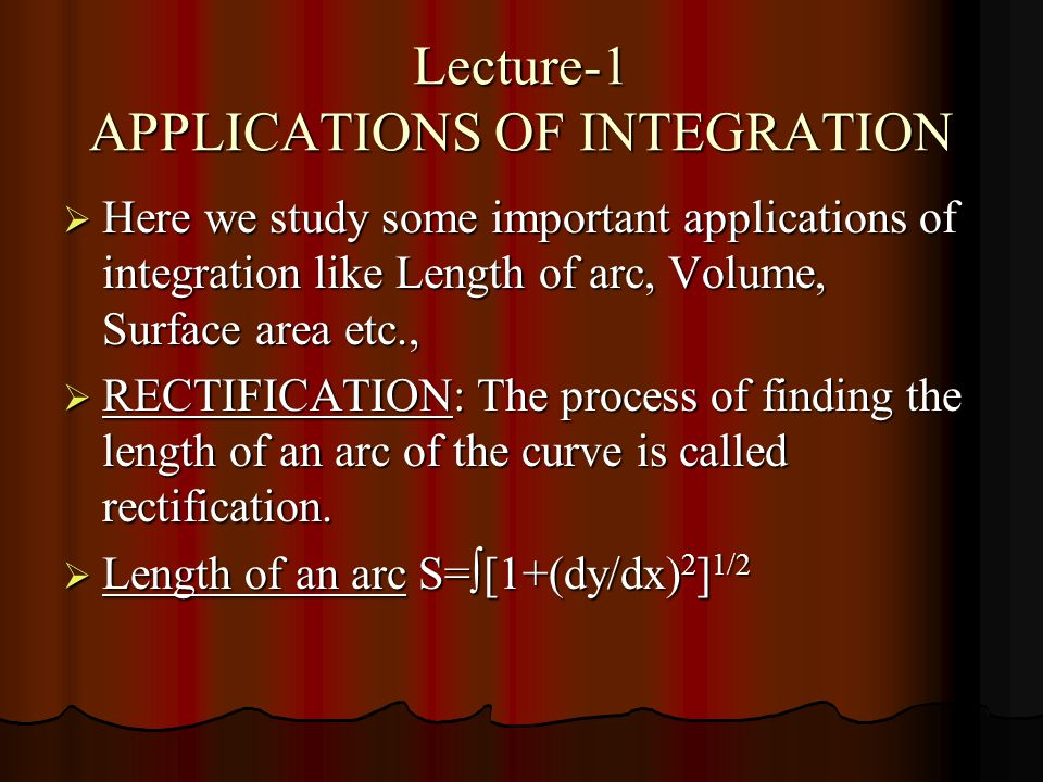 Lecture-1 APPLICATIONS OF INTEGRATION