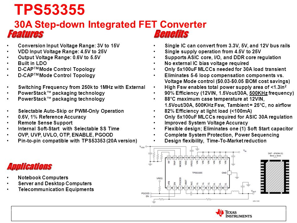 TPS53355 30A Step-down Integrated FET Converter