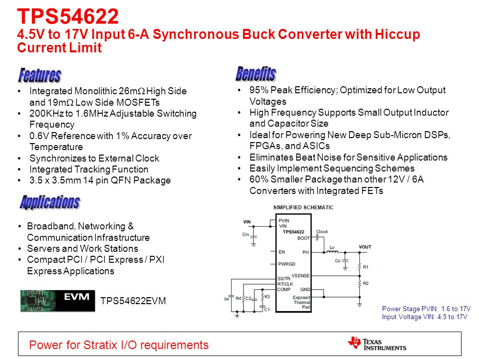TPS54622 4.5V to 17V Input 6-A Synchronous Buck Converter with Hiccup Current Limit