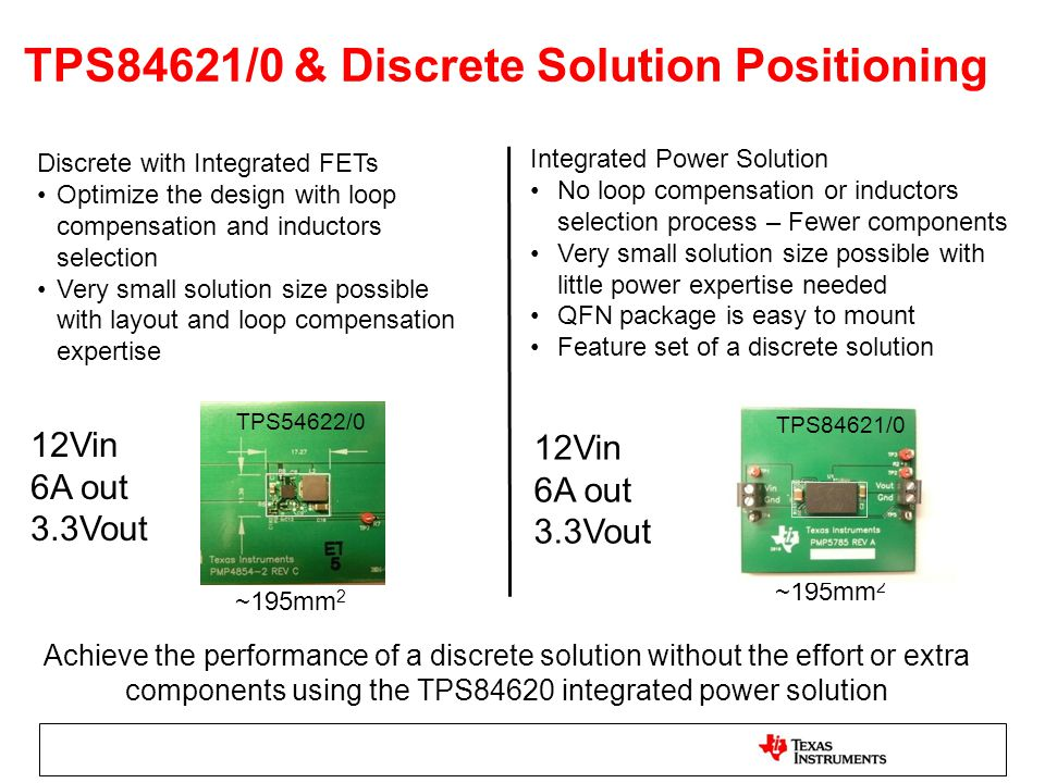 TPS84621/0 & Discrete Solution Positioning
