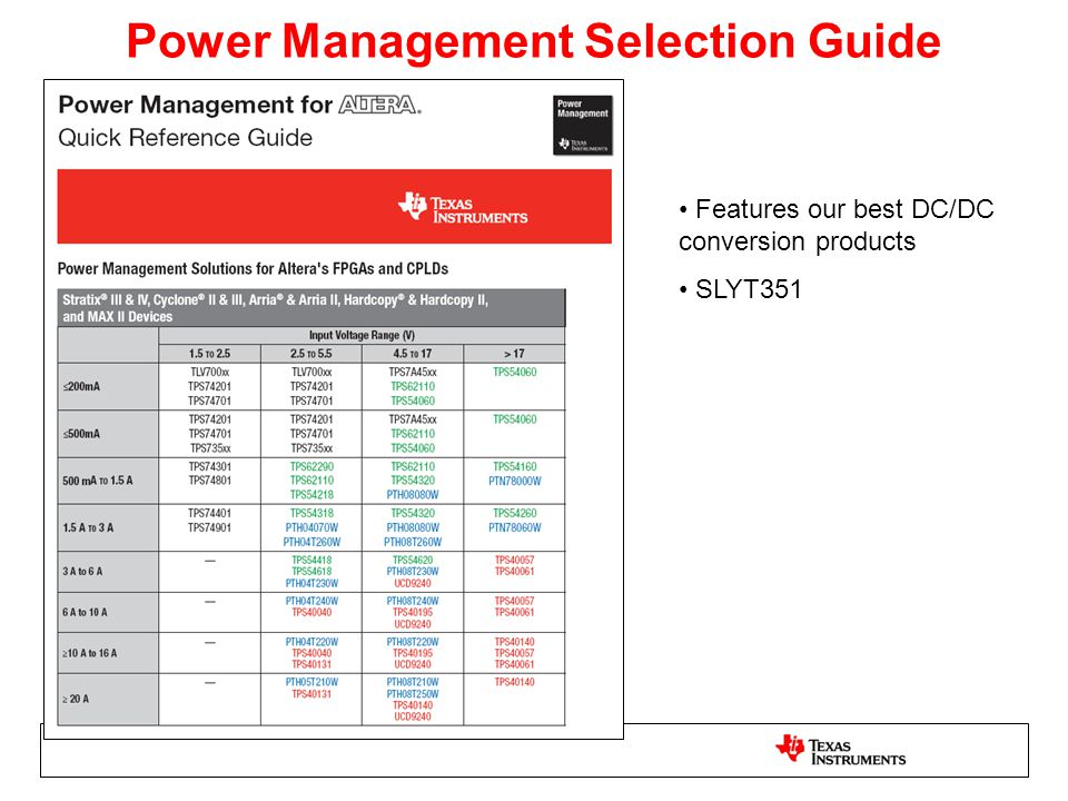 Power Management Selection Guide