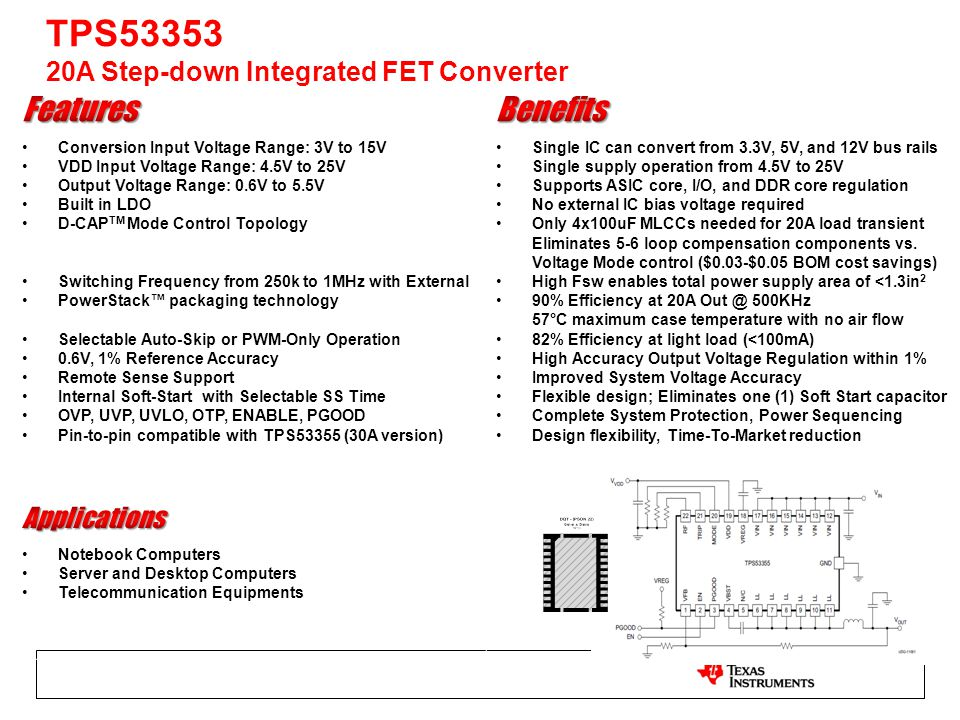 TPS53353 20A Step-down Integrated FET Converter