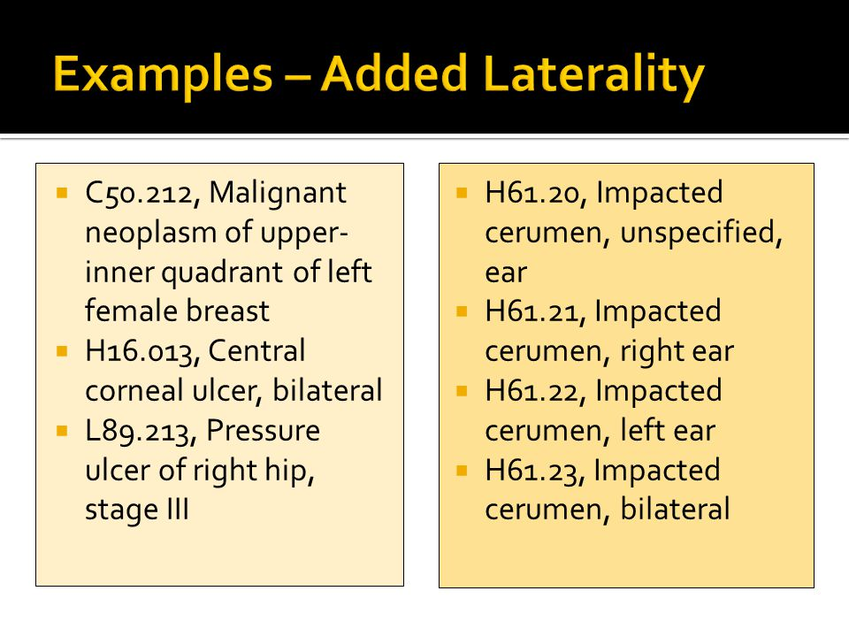 Examples – Added Laterality