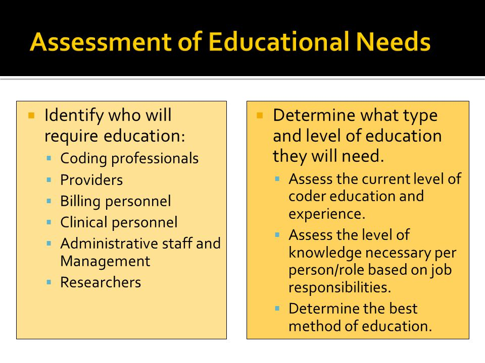 Assessment of Educational Needs
