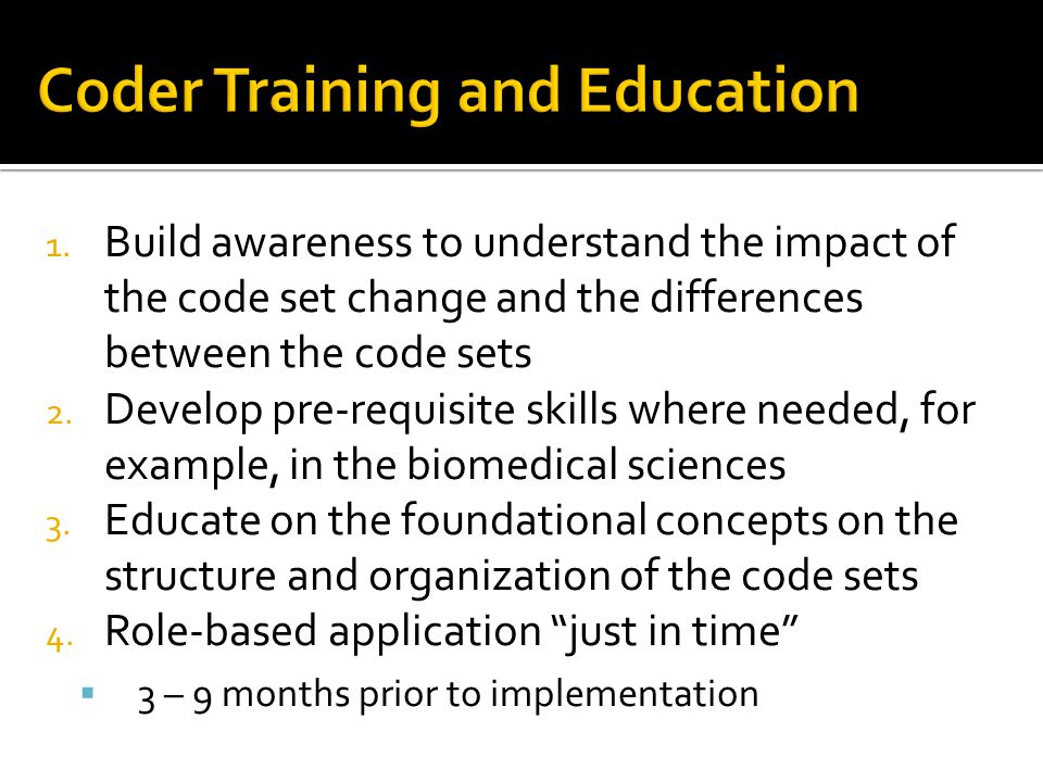 Coder Training and Education