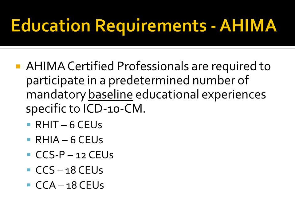 Education Requirements - AHIMA